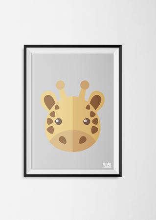 kinderkamerposter giraf giraffe jungle grijs poster dieren