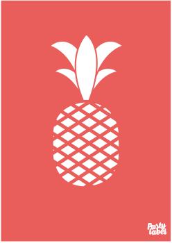 poster ananas koraal roze