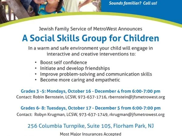 Nov 20 Social Skills Group for Children in Grades 3 - 5