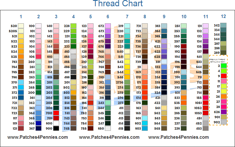 Embroidered Patch Thread  Twill Colors - Patches 4 Pennies