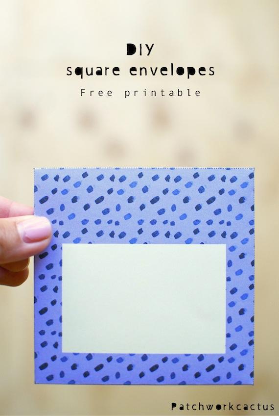 DIY Square Envelopes - free printable - Patchwork Cactus