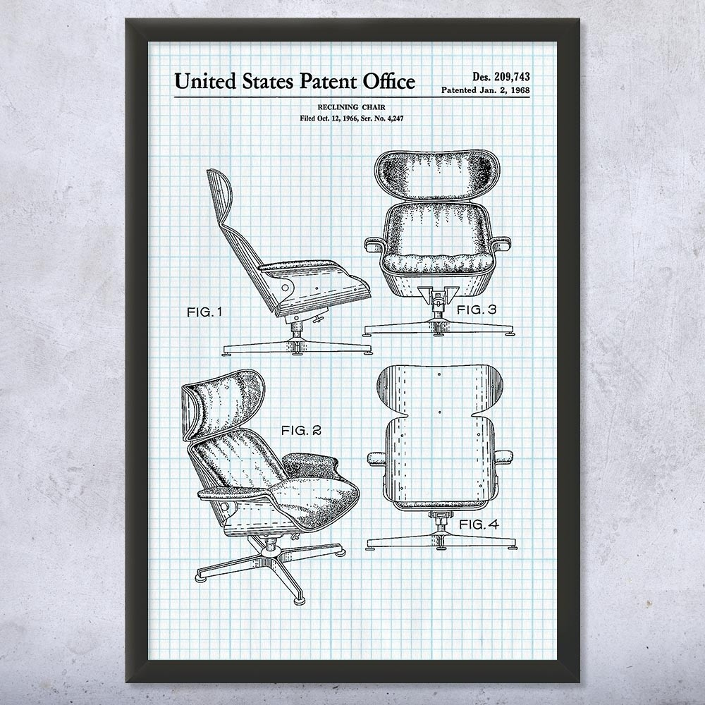 Eames Chair Patent Eames Lounge Chair Framed Print Furniture Art Decor