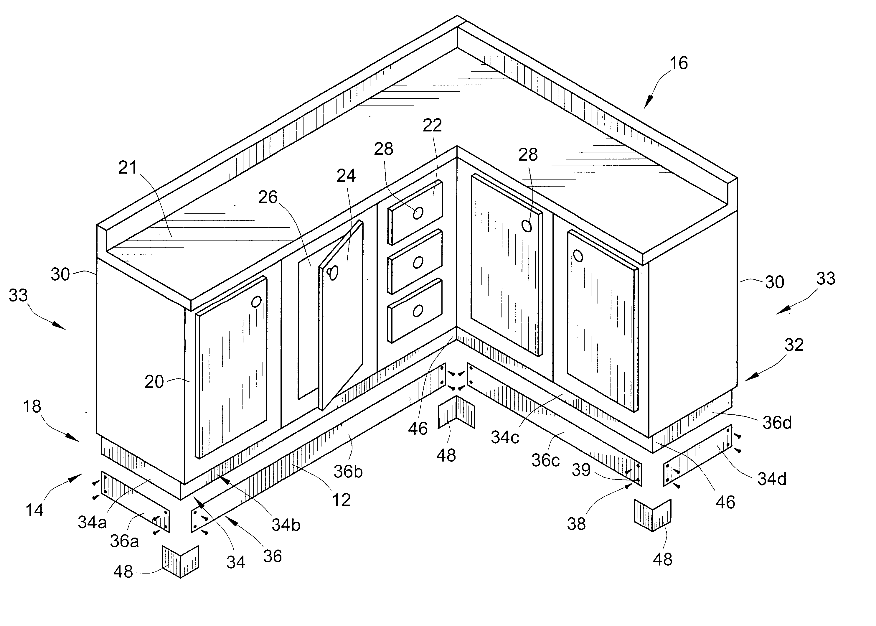 Kitchen Cabinets Face Frame Dimensions Patent Us20030222552 Metallic Toe Kick For Wooden