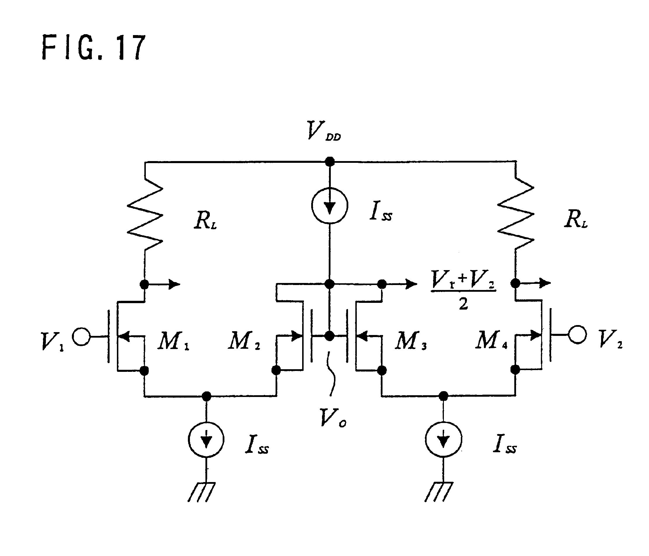 voltage subtractor adder circuit comprising a current subtractor