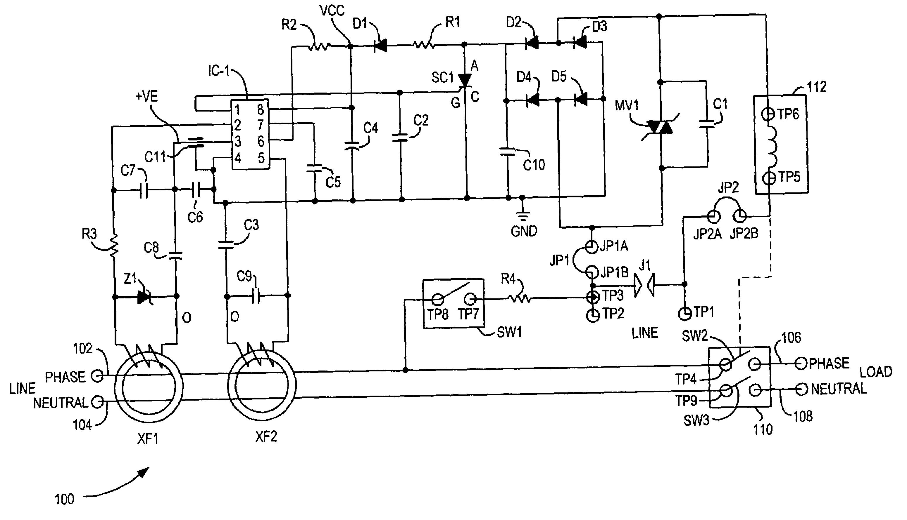 ground fault interrupter circuit