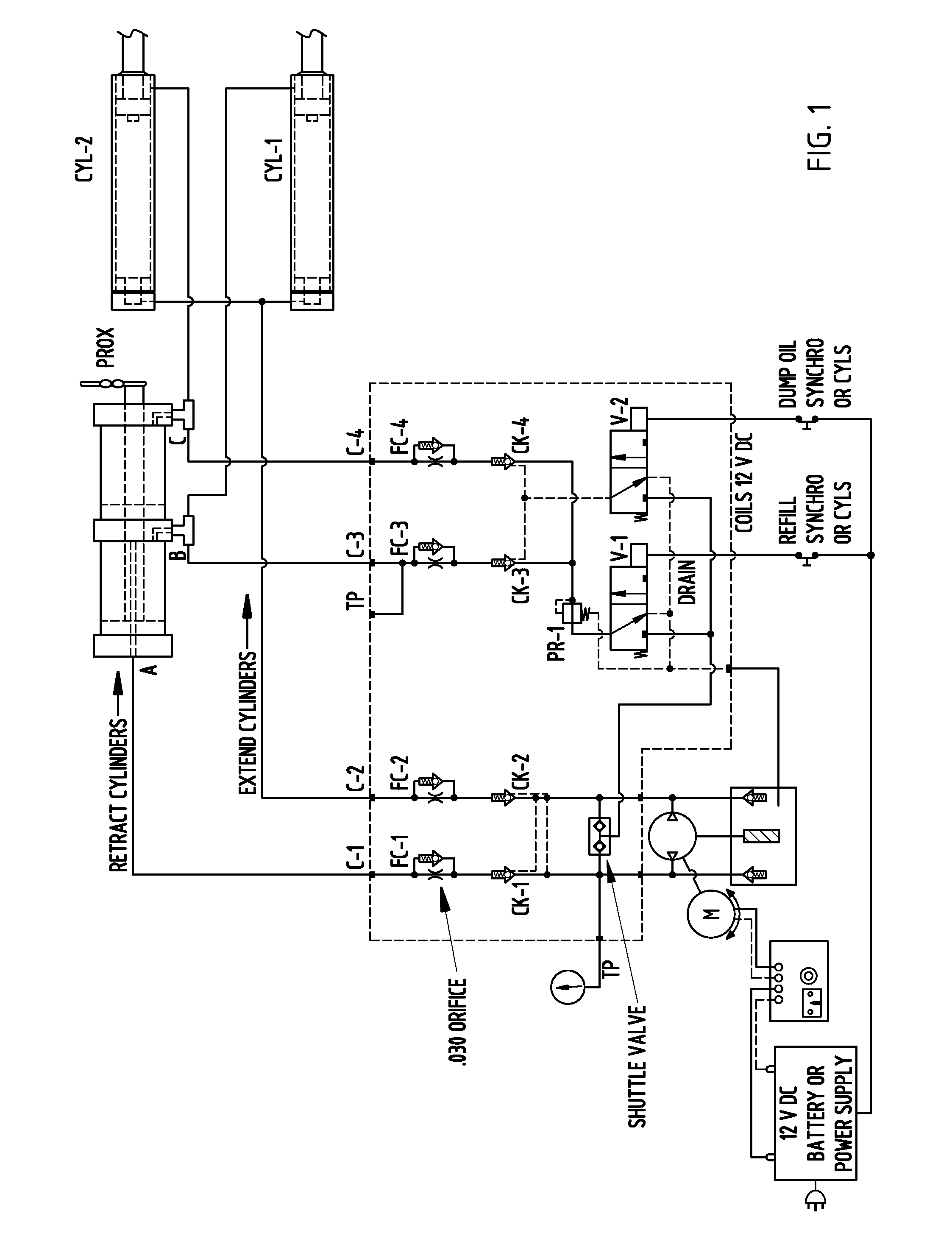 patent us7926410 hydraulic circuit for synchronized horizontal