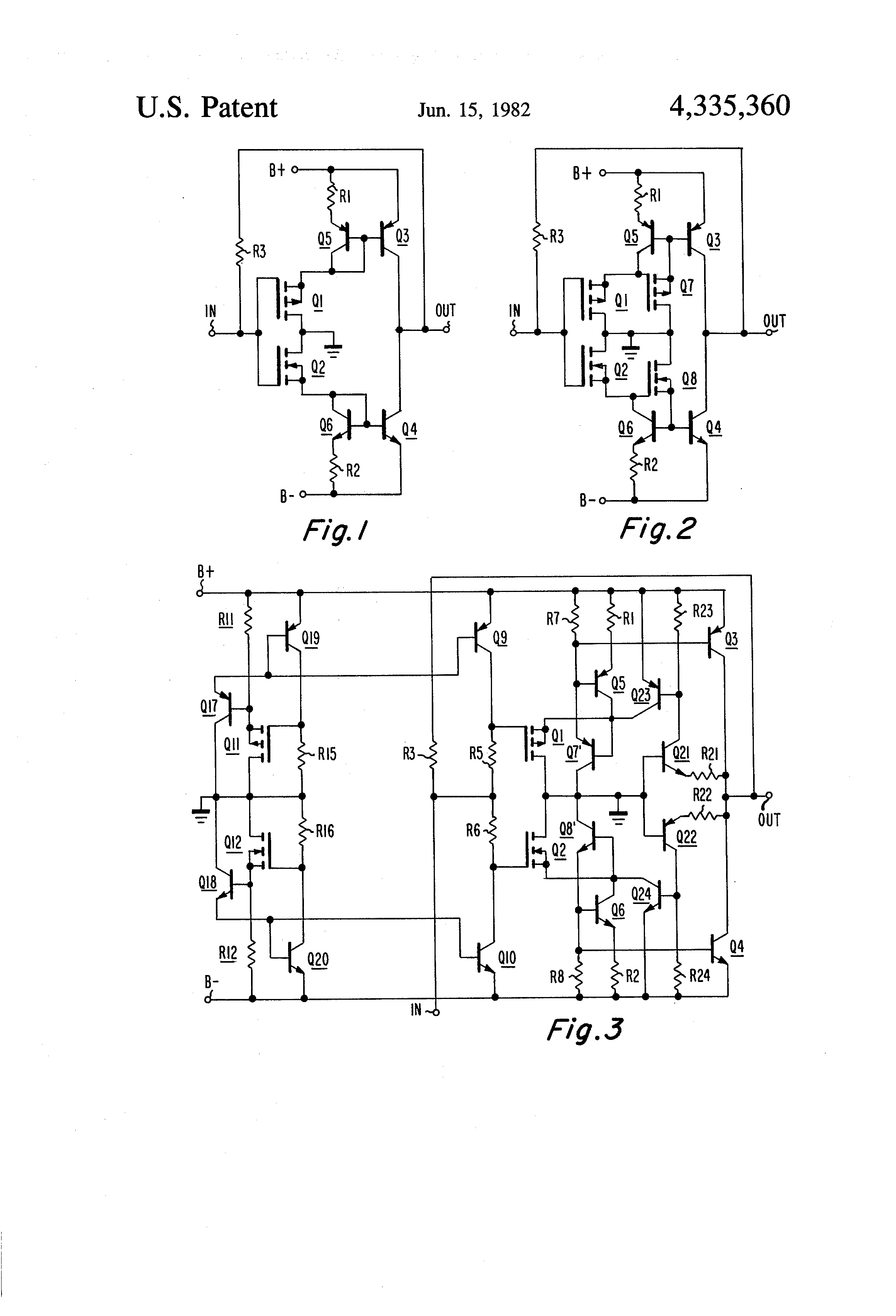 patent us4335360 class ab push pull amplifiers