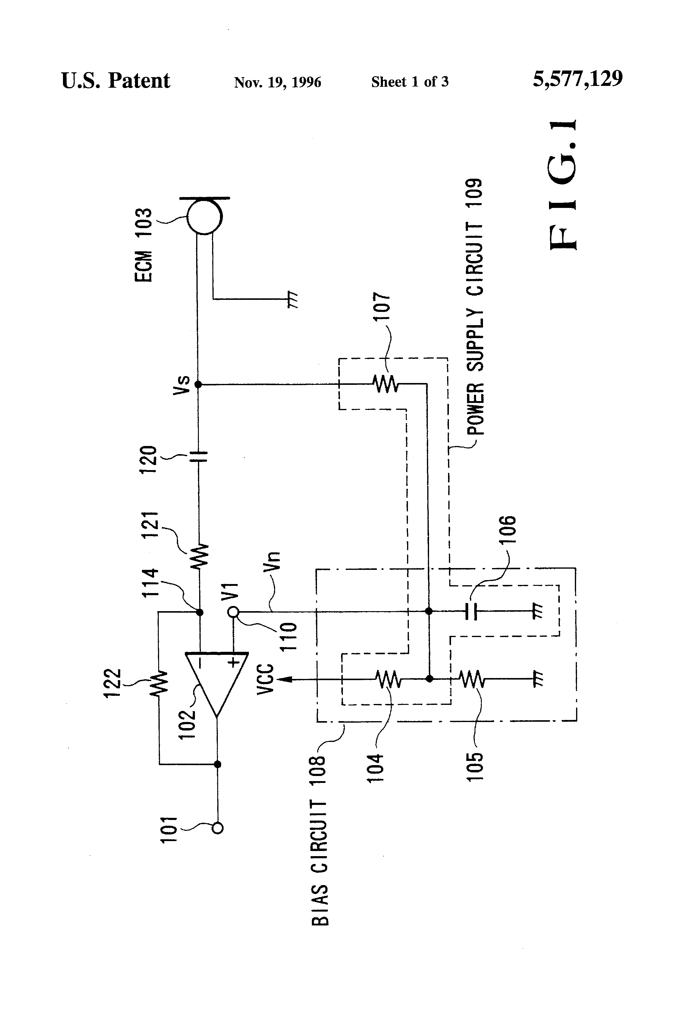 amplifier circuit for electret condenser microphone patent 5577129