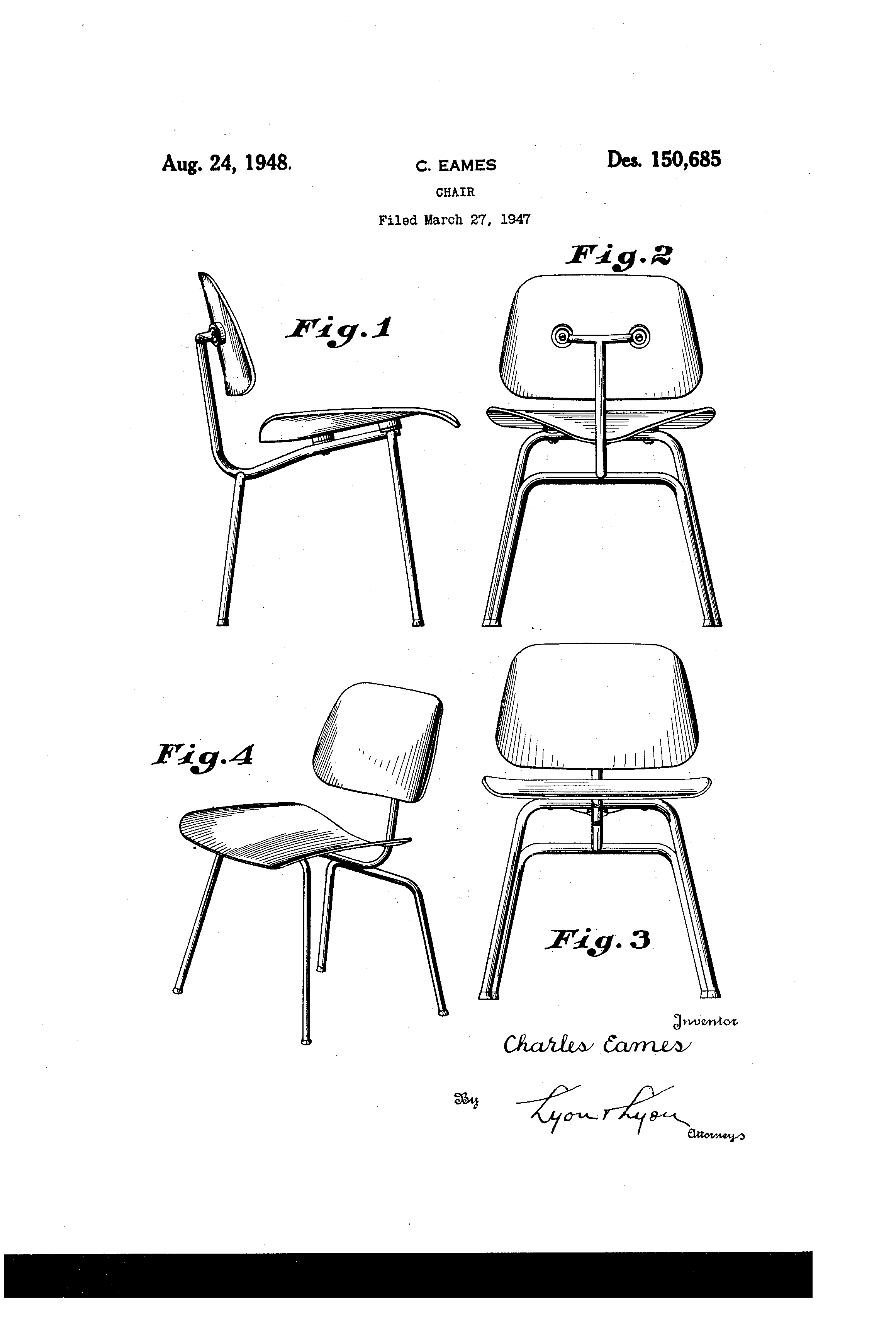Eames Chair Drawing Patent Usd150685 Design For A Chair Google Patents