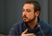 Javier Parra durante un pleno