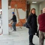 Sagredo, Campos y Fernández durante su visita al centro