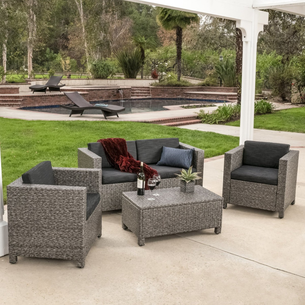 Rattan Sofa Instructions Venice 4 Piece Grey Black Wicker Outdoor Sectional Sofa Set