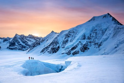Ski touring on glacier