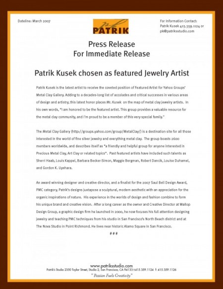 Metal Clay Groups Featured Artist Patrik Kusek