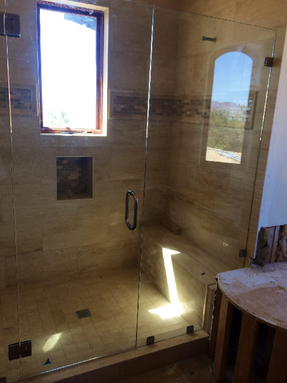 Frameless Mirror In Bathroom Centered Door Glass Shower Enclosure Patriot Glass And