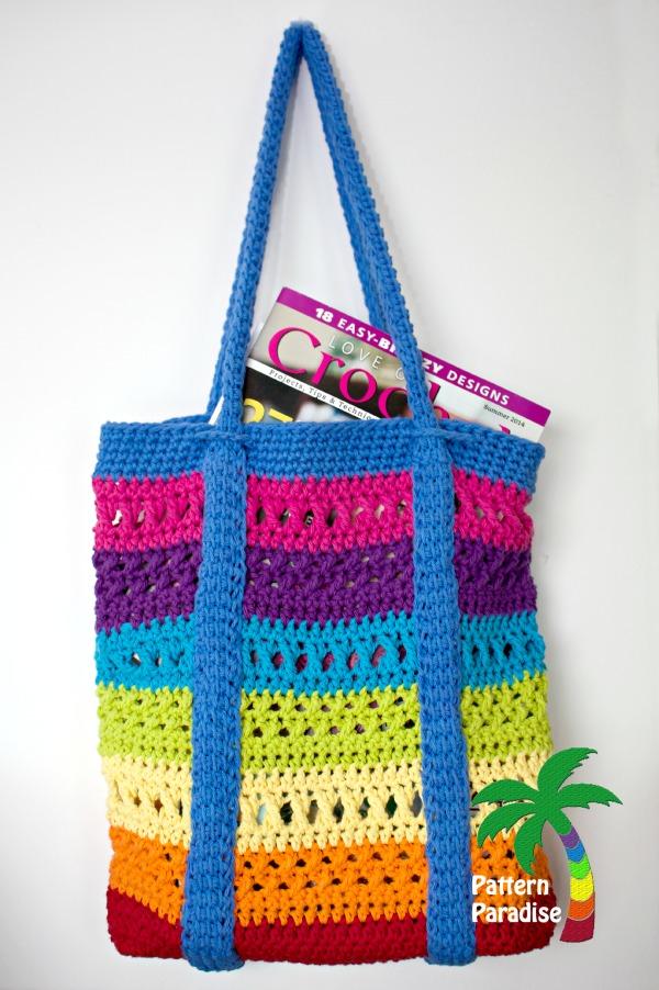 Crochet Market Bag Free Pattern : Free Crochet Pattern-X Stitch Challenge, Market Bag Pattern Paradise