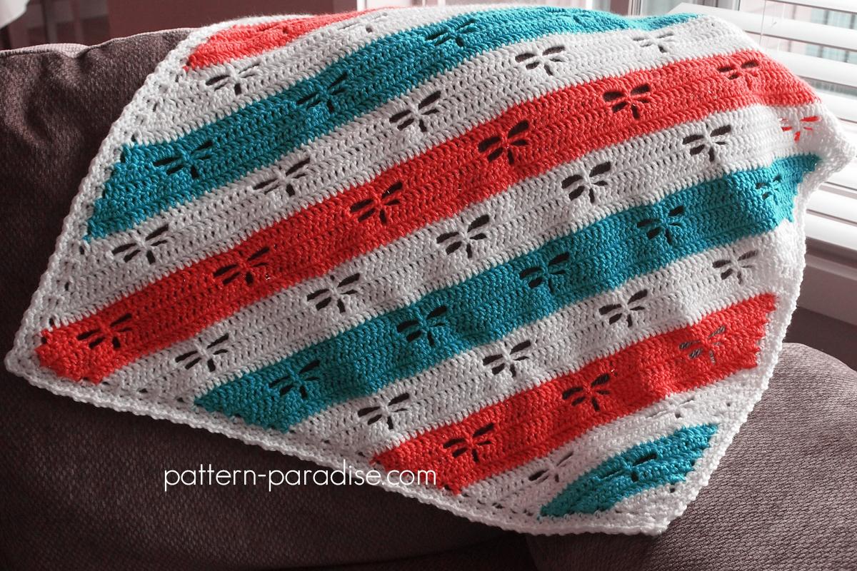 Crochet Dragonfly Baby Blanket Pattern : Free Crochet Pattern: Dragonfly C2C Throw Pattern Paradise