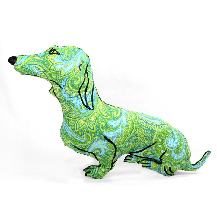 Hand drawn dachshund shaped pillow.
