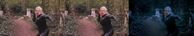 Kim Wilde throwing an energy ball.