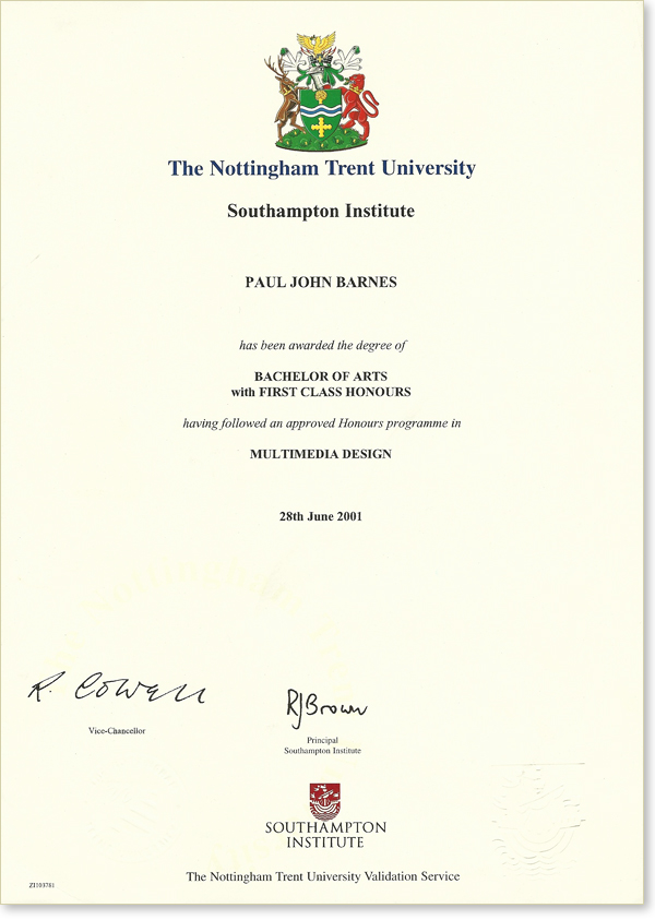 First Class Honours Paul Barnes - Digital Design Blog
