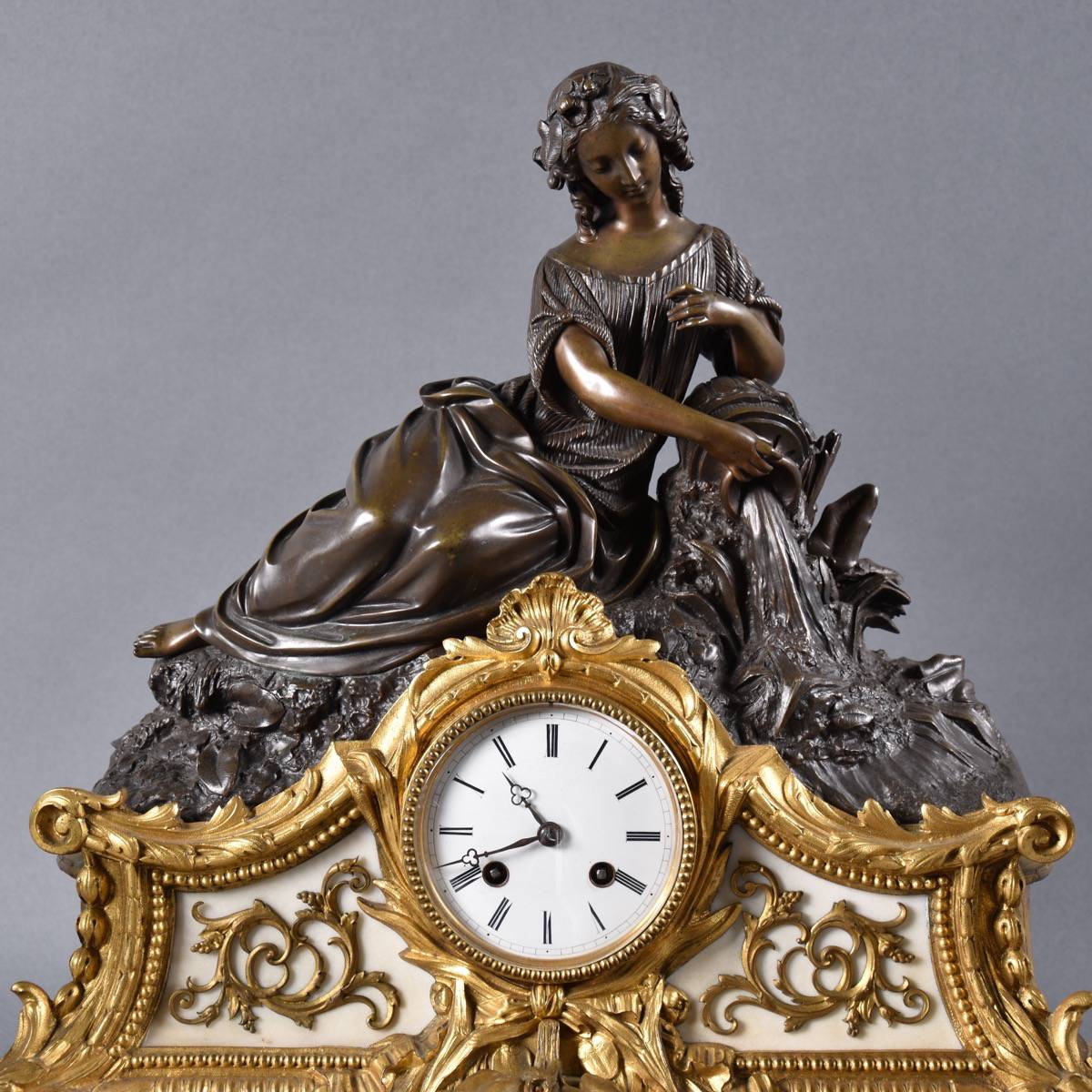 Grande Table Haute Marble And Bronze French Clock Set | De Grande Antique