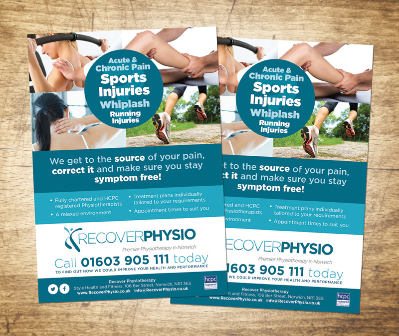 Recover Physio flyers - Paul Kirk Design Graphic Design, Web - web flyer