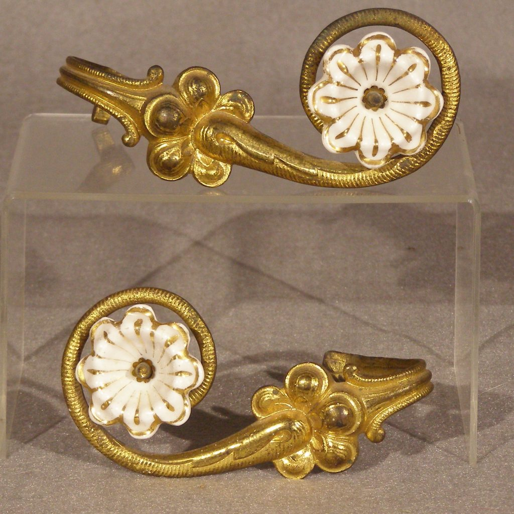 Antique Bronze Curtain Tie Backs Pair Curtain Tiebacks Gilt Bronze And Porcelain Paul Kleinwald