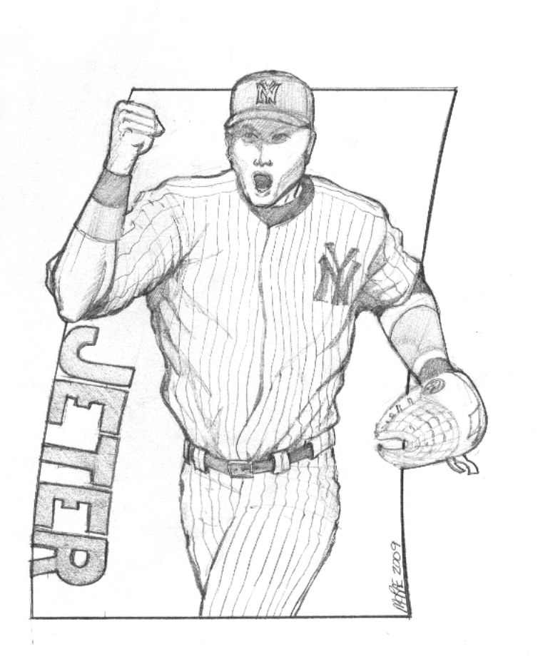 Derek Jeter Colouring Pages Sports themed artwork Pinterest - bat template