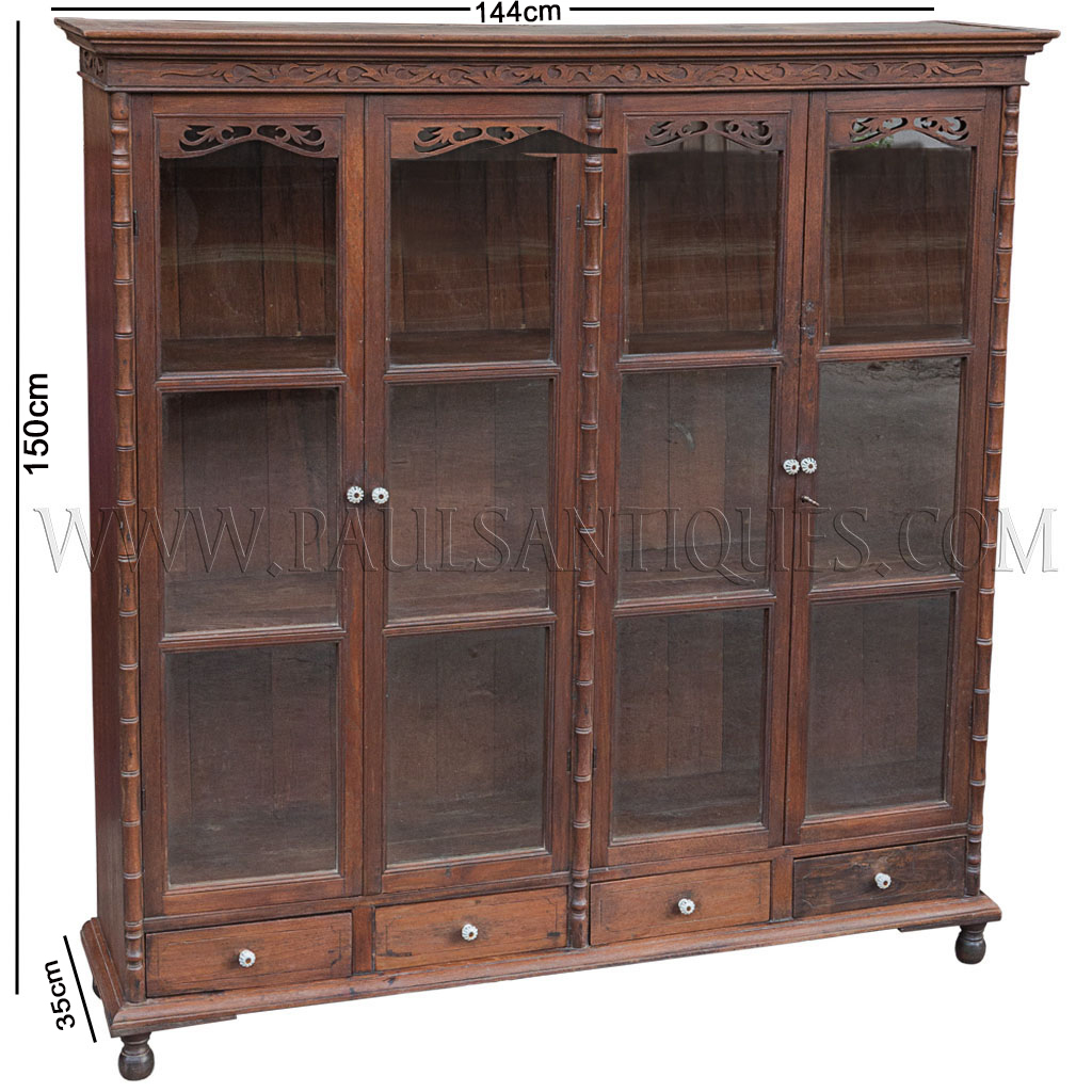 Armoire Dressing 150 Cm Rare Antique Thai Teak Display Cabinet With Drawers And Glass Doors
