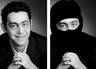 Fouad Sidali, met en zonder gevingerverfde niqaab