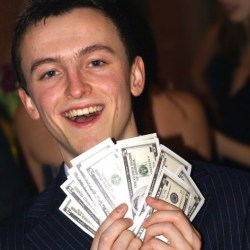 happy guy with lots of money