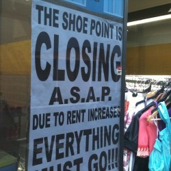 A small business closing due to rent increase
