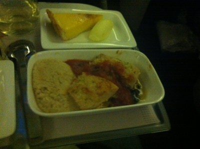 Air New Zealand Premium Economy dinner