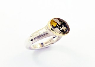 Dendritic Quartz, Sterling Silver and 14ky Gold Ring