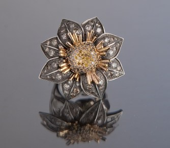 Sterling Silver, 14k Yellow Gold, 2 1/2 Carats Of Colored Diamonds $3,750+