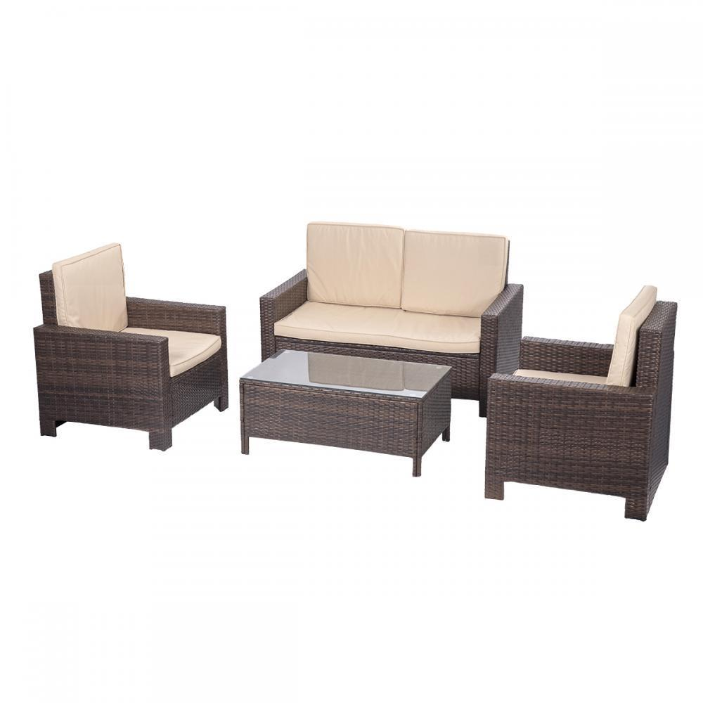 Rattan Sofa 4pc Pe Rattan Wicker Sofa Set Cushion Outdoor Patio Sofa Couch Furniture