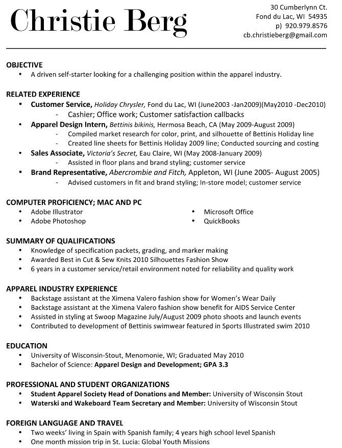 Resume - Christie Berg - Apparel Designer