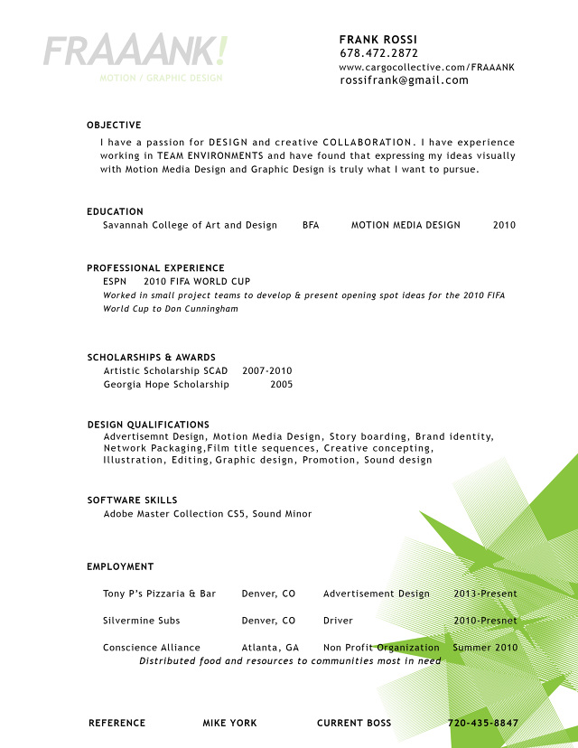About Frank Rossi  Resume - fraaank - motion graphics resume