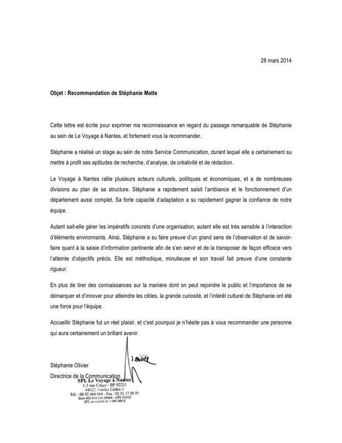 LETTRES DE RECOMMANDATION   LETTERS OF RECOMMENDATION - Stéphanie Matte