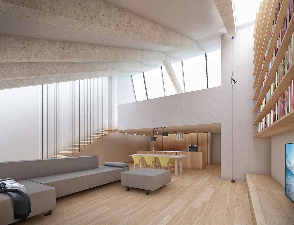 Illuminazione zenitale abbinare bianco e legno in mansarda