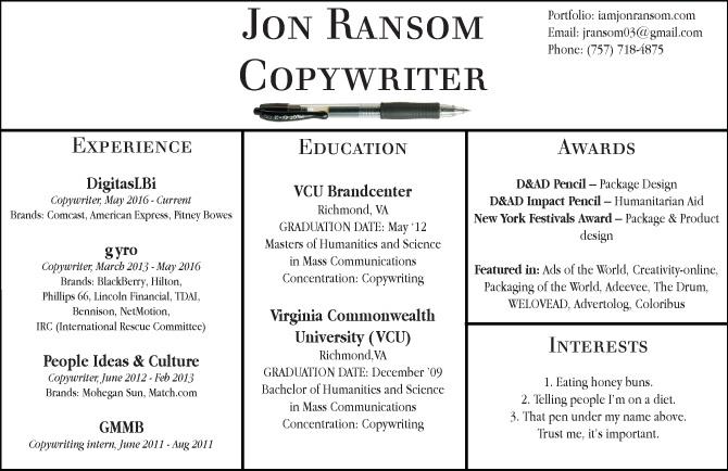 ABOUT ME/RESUME - Jon Ransom Copwriter