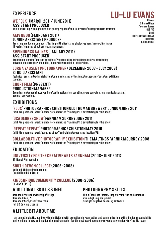 CV - luluevans - font and size for resume