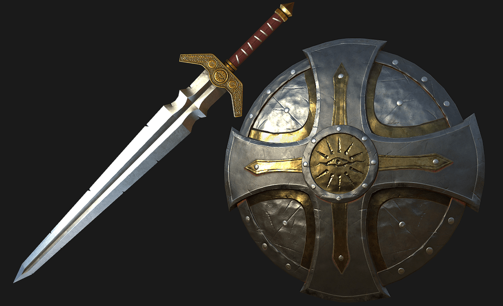 Ninja 3d Wallpaper Pbr Sword And Shield Louie Woodhouse 3d Artist