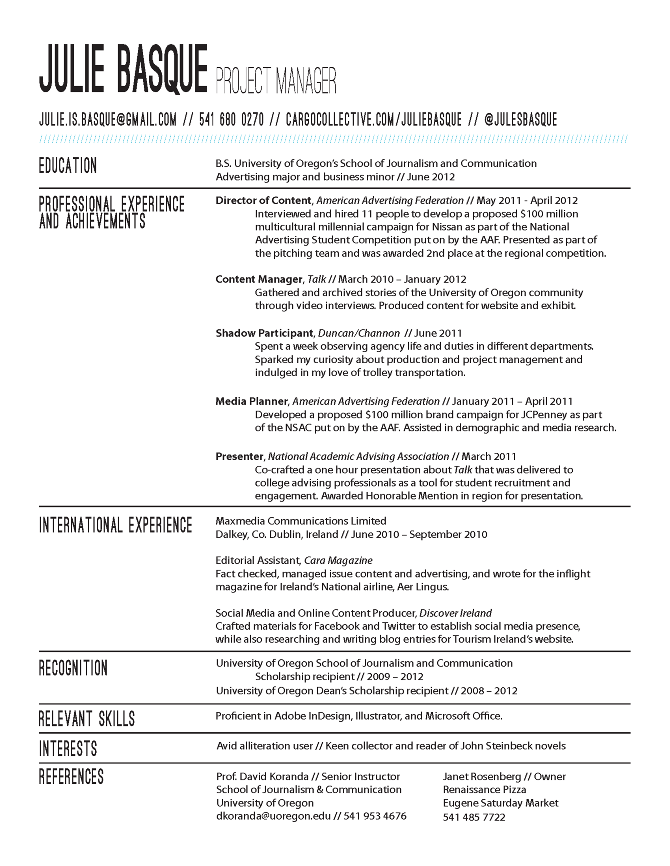 Sample Project Manager Resume Sample Templates Resume Julie Basque