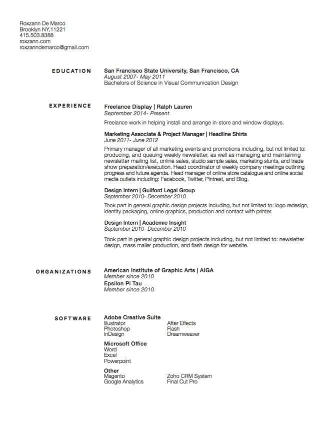 Resume - Roxzann De Marco Designer  Then Some