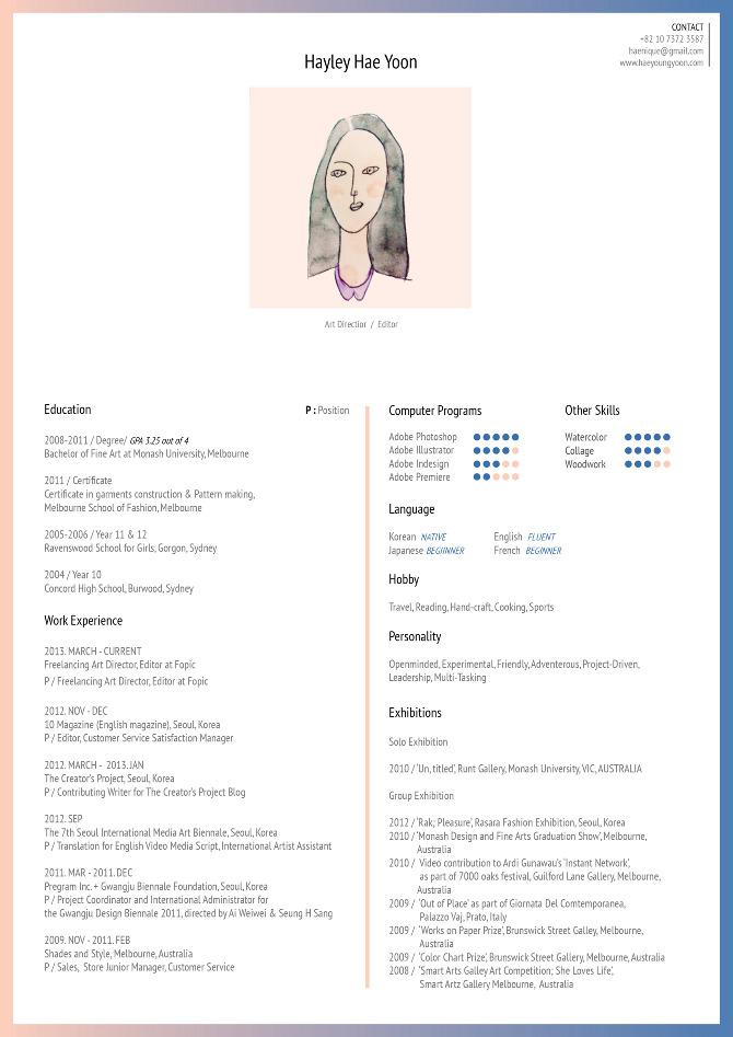 Personal Resume - Hae Yoon