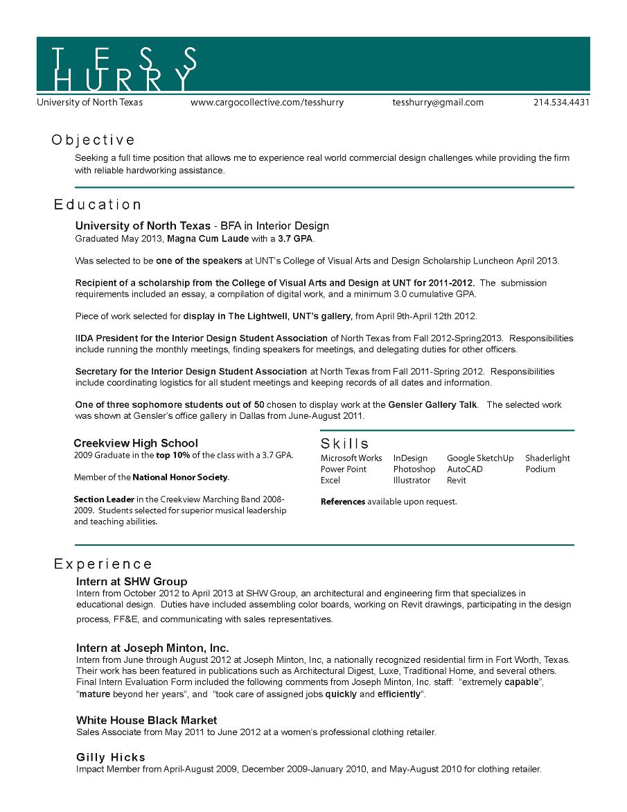 resume cv anglais