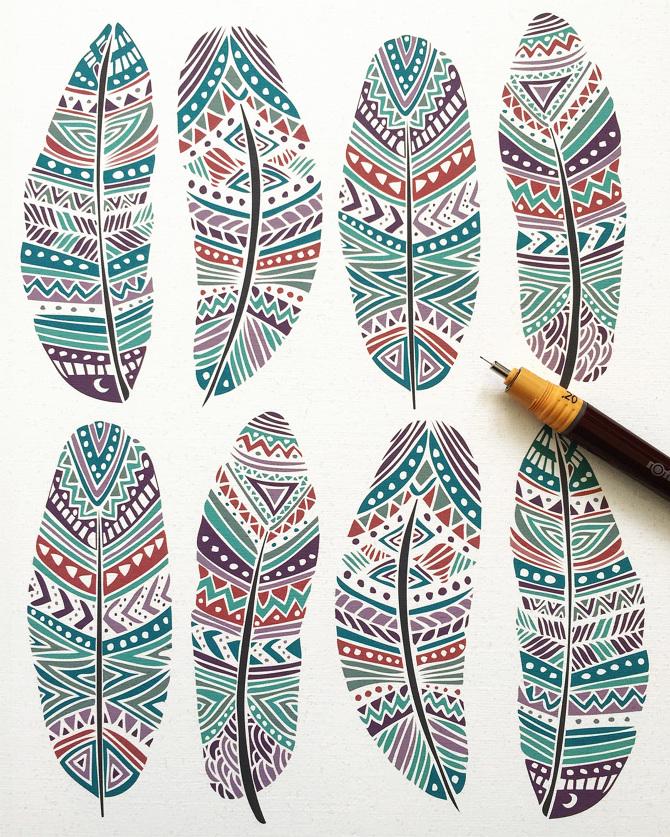 Tribal Aztec Ethnic Geometric Patterns - Pom Graphic Design
