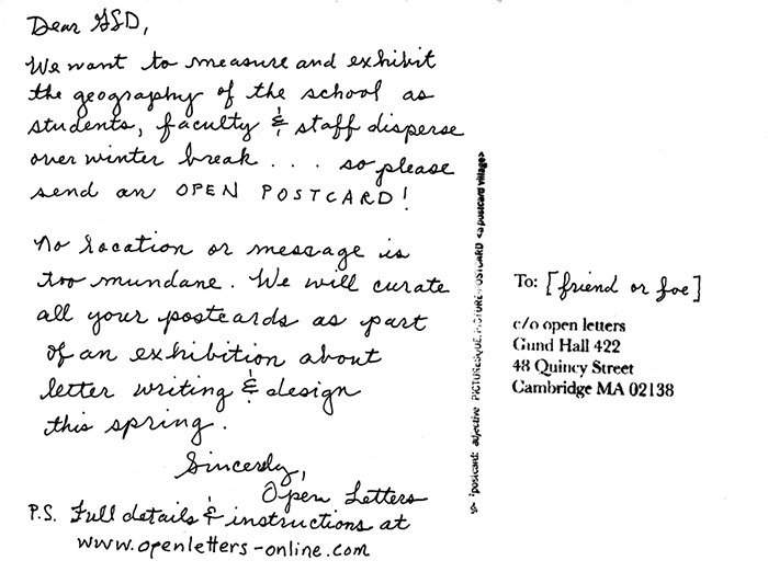 Open Postcards - open letters