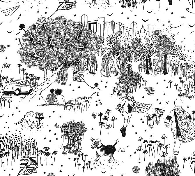 Wallpaper Design Black Toile De Jouy Caroline Sciancalepore